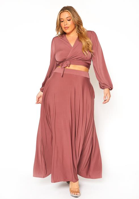 Asoph Plus Size Cropped Wrap Blouse & Maxi Skirt Set