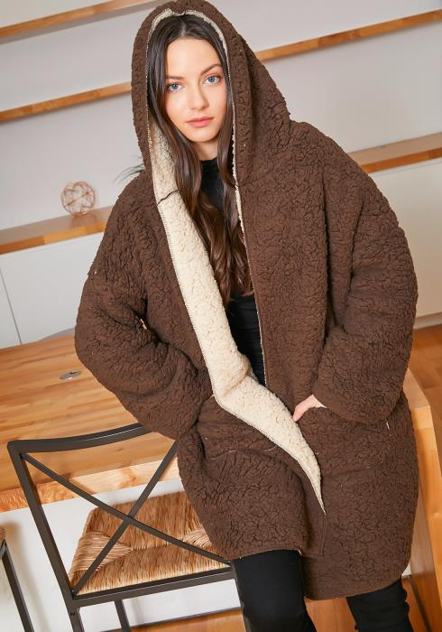 Tansy Womens Cozy Soft Teddy Hooded Cardigan
