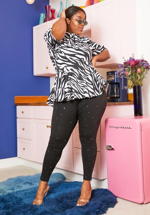 Asoph Plus Size Rhinestone Studded Leggings