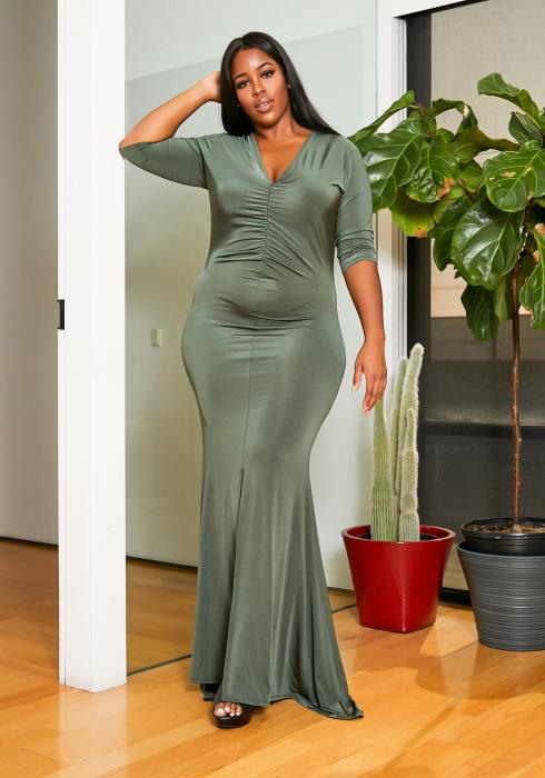 Asoph Plus Size Sincere Olive Womens Mermaid Flare Maxi Gown