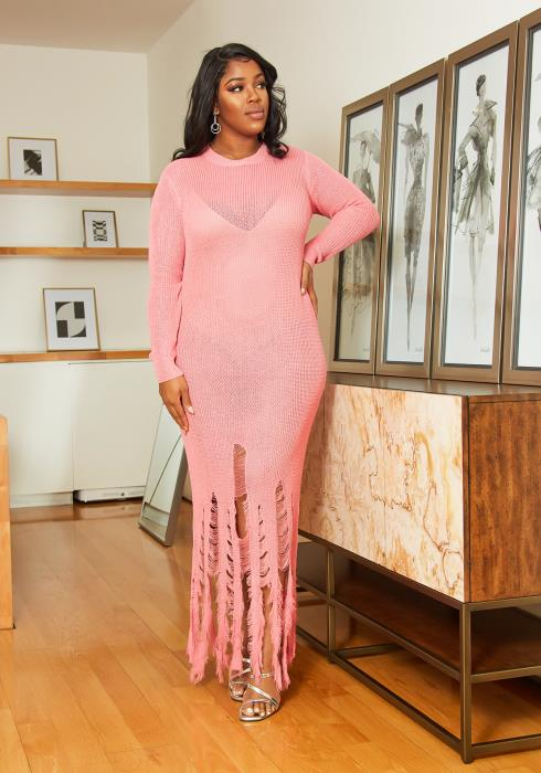 Asoph Plus Size Distressed Hem Knit Dress