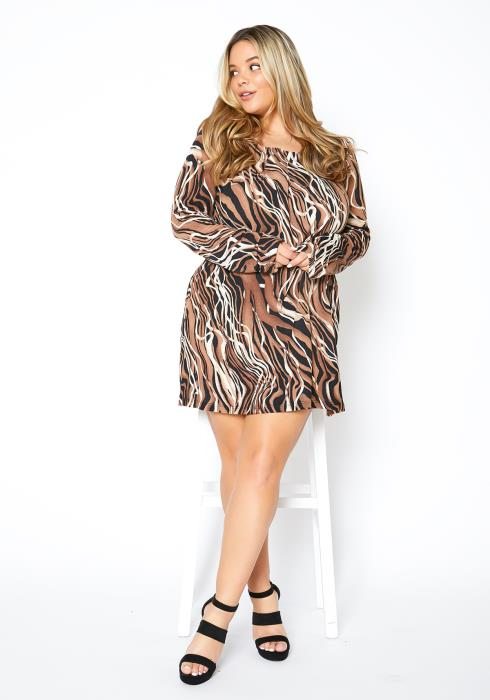 Asoph Plus Size Abstract Print Womens Holiday Mini Dress