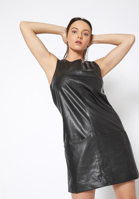 Ro & De Black Leather Moto Tank Dress