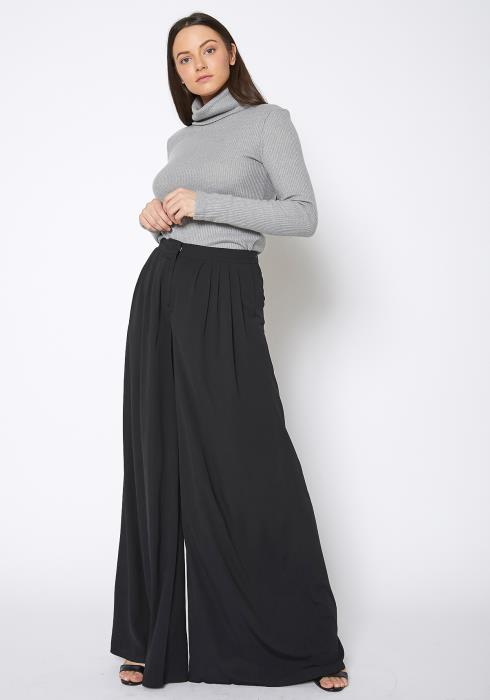 Ro & De Super Wide Leg Black Suit Pants