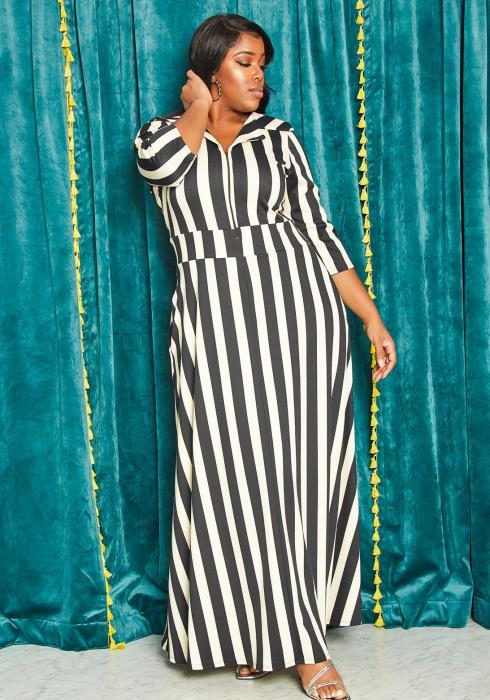 Asoph Plus Size Stripe Zip Up Maxi Dress