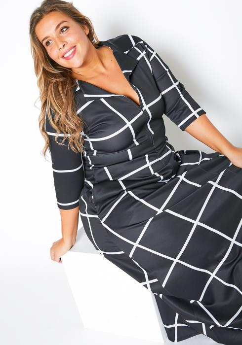 Asoph Plus Size Grid Plaid Womens Fit & Flare Maxi Dress