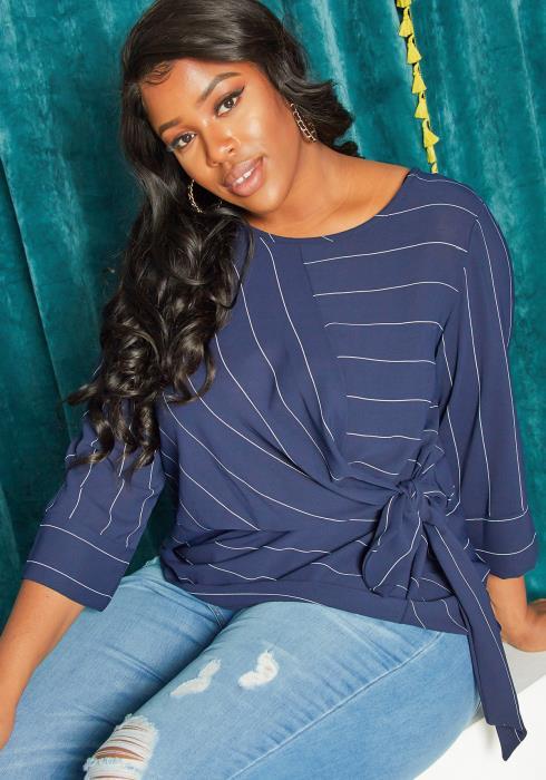 Asoph Plus Size Side Tie Stripe Blouse