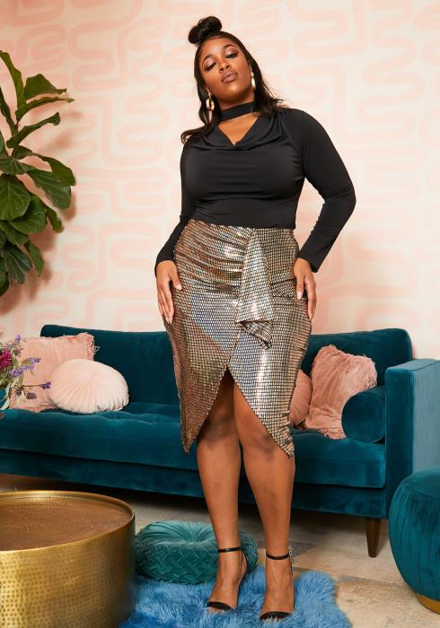 Asoph Plus Size Disco Ball Wrap Skirt