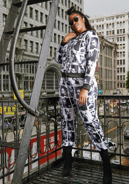 Asoph Plus Size Womens LA Models Graphic Jacket & Pants Set