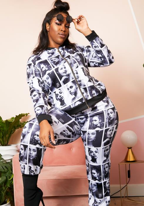 Asoph Plus Size Black White Graphic Set