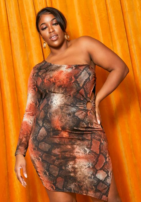 Asoph Plus Size Snakeskin One Shoulder Bodycon Dress