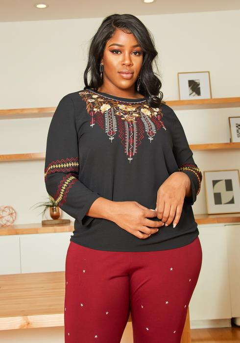 Asoph Plus Size Embroidered Blouse Top