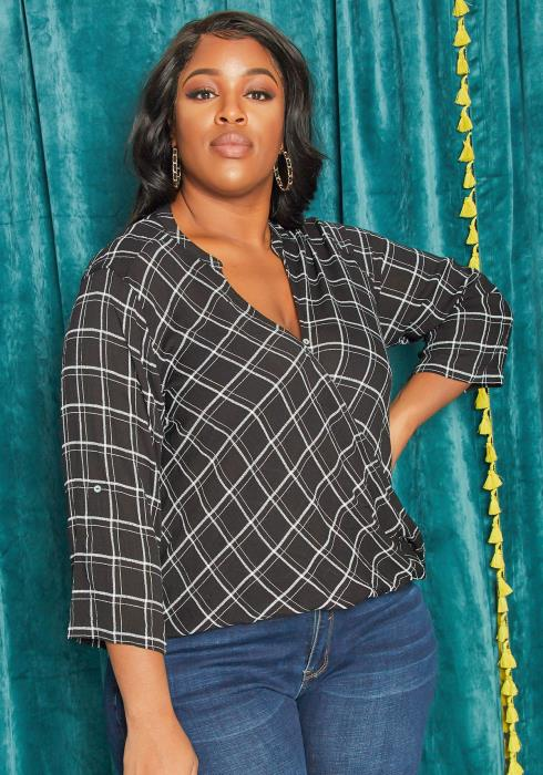 Asoph Plus Size Subtle Plaid Wrap Blouse