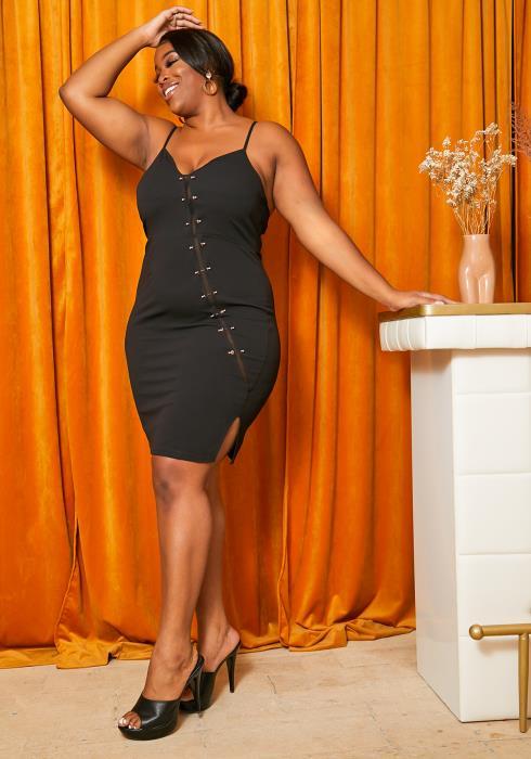 Asoph Curvy Womens Gold Pierced Cami Bodycon Dress