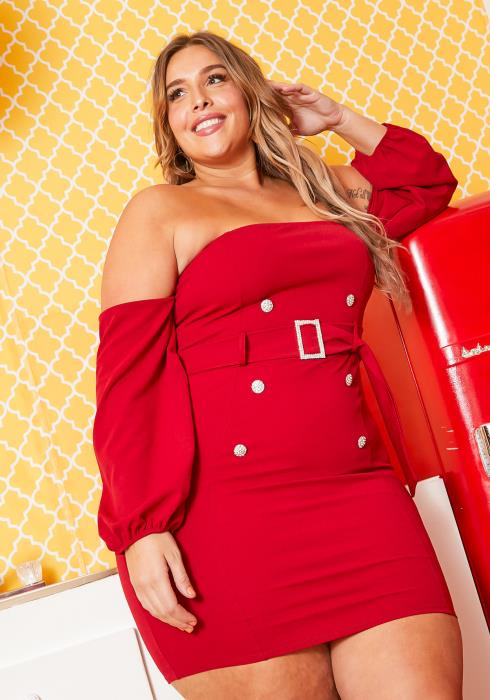 Asoph Plus Size Off Shoulder Mini Party Dress With Belt