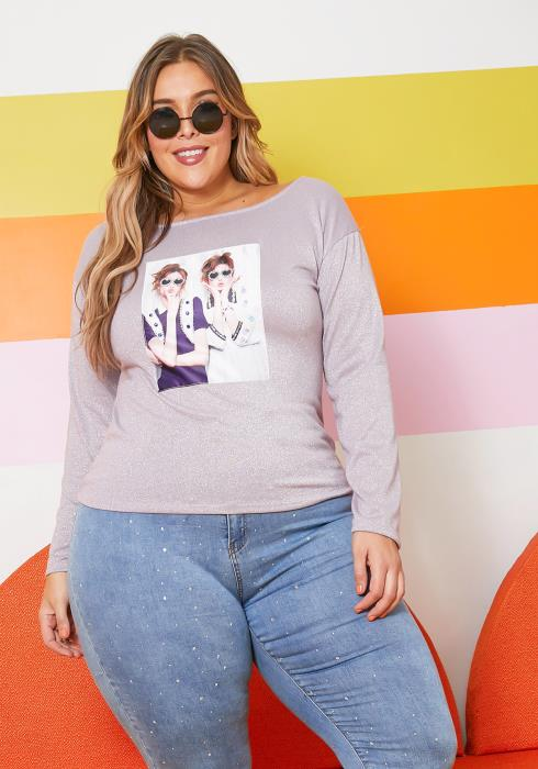 Asoph Plus Size Womens BFF Forever Graphic Sweater