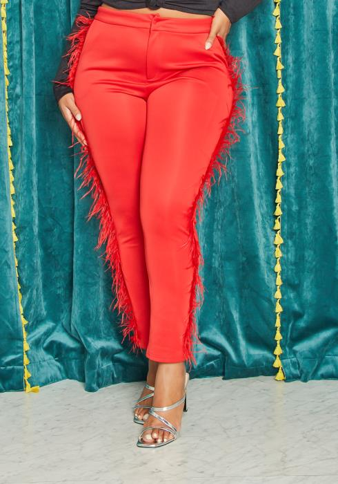 Asoph Curvy Womens Vibrant Faux Fur Trimmed Trousers