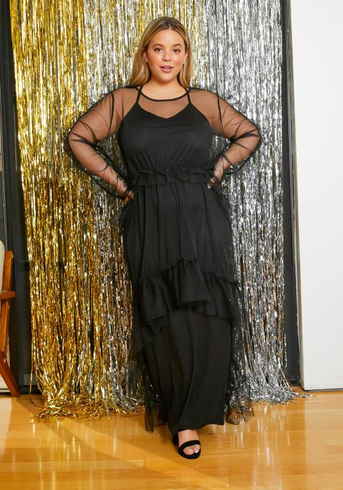 Asoph Plus Size Ruffle Trimmed Womens Dreamy High Low Dress