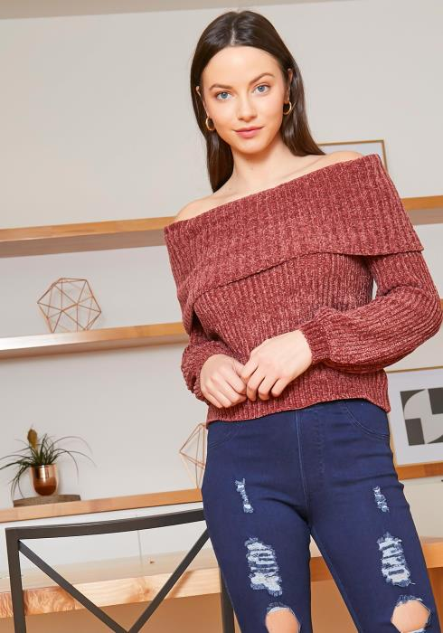 Tansy Off Shoulder Mauve Ribbed Knit Sweater