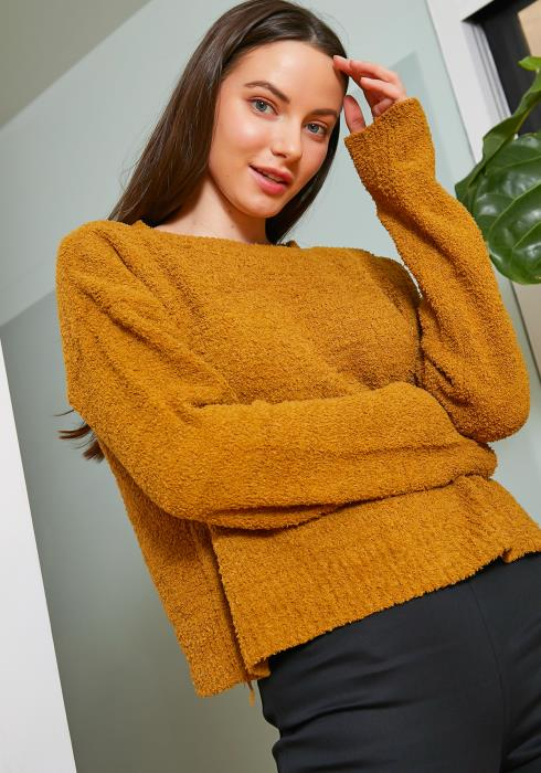 Tansy Womens Shaggy Knit Mustard Sweater