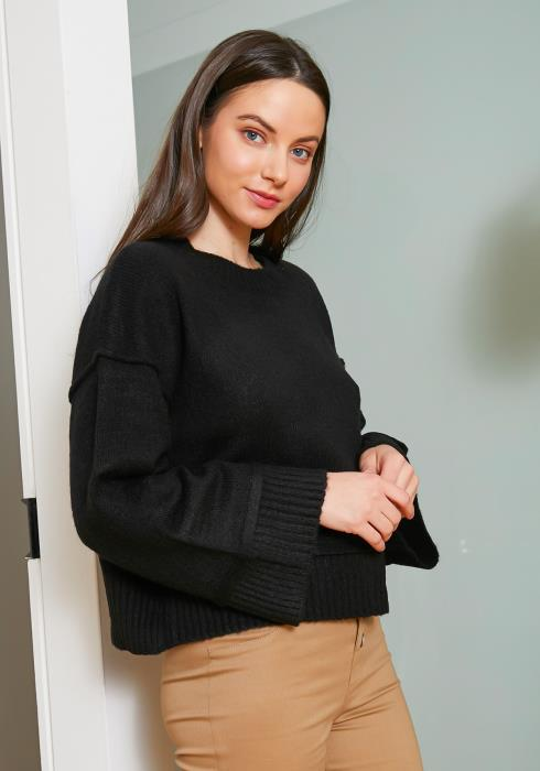 Tansy Black Wool Knit Womens Bell Sleeve Sweater