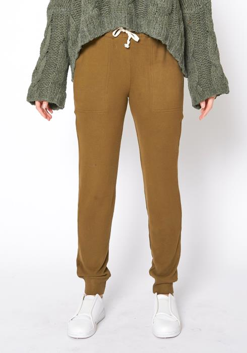 Tansy Womens Soft Evergreen Jogger Pants