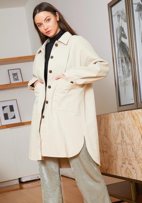 Tansy Womens Cream Oversized Button Front Boyfriend Jacket
