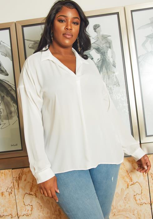 Asoph Plus Size Womens Crosslace Back Collar Blouse