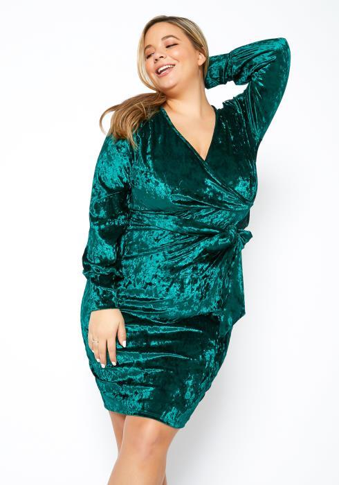 Asoph Plus Size Dreamy Womens Velvet Mini Dress