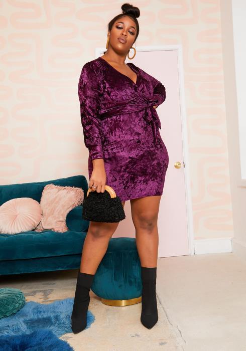 Asoph Plus Size Velvety Plum Party Wrap Dress