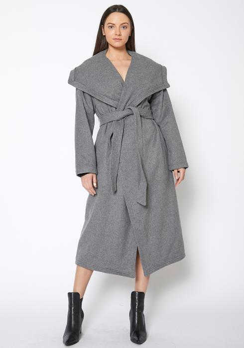 Ro & De Wool Blended Wide Collared Longline Wrap Coat