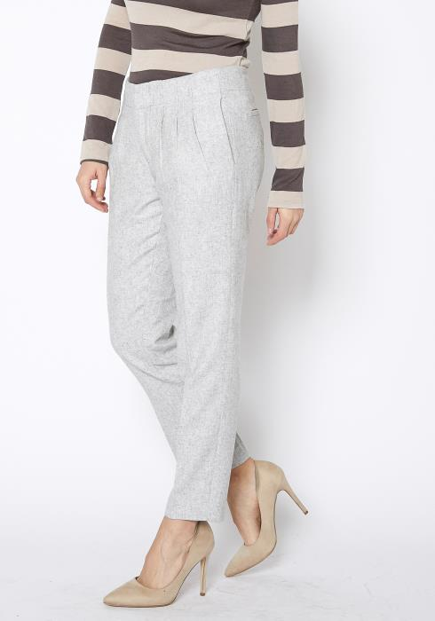 Ro & De Heather Grey Wool Twill Dress Pants