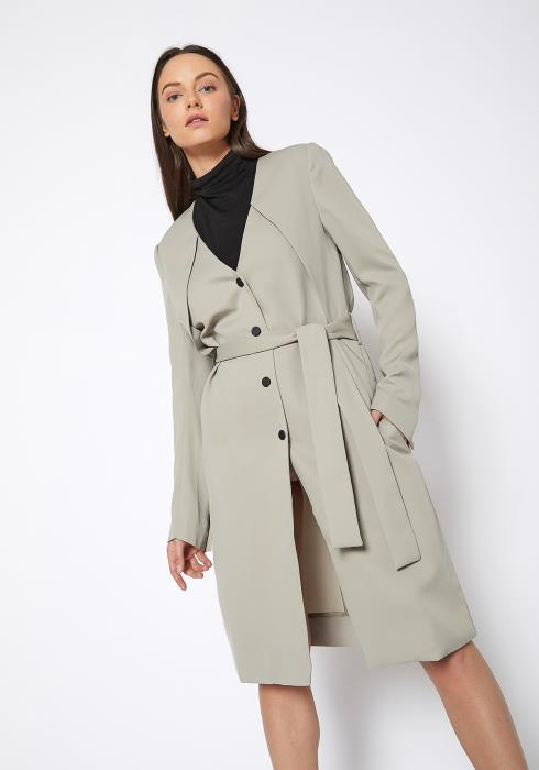 Ro & De V Neck Moss Longine Coat Dress