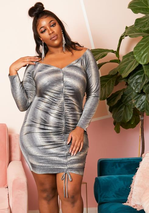 Asoph Plus Size Metallic Stripe Ruched Dress