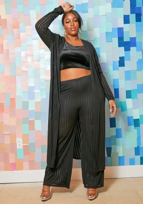 Asoph Plus Size Mesh Stripe Contrast Straight Pants & Cardigan Set