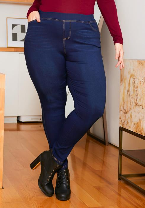 Asoph Plus Size Dark Wash Women Jeggings