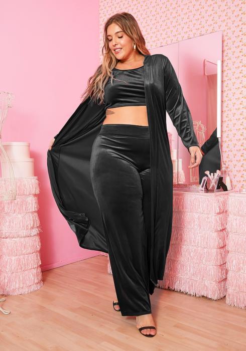 Asoph Plus Size Womens Triple Velvet Set