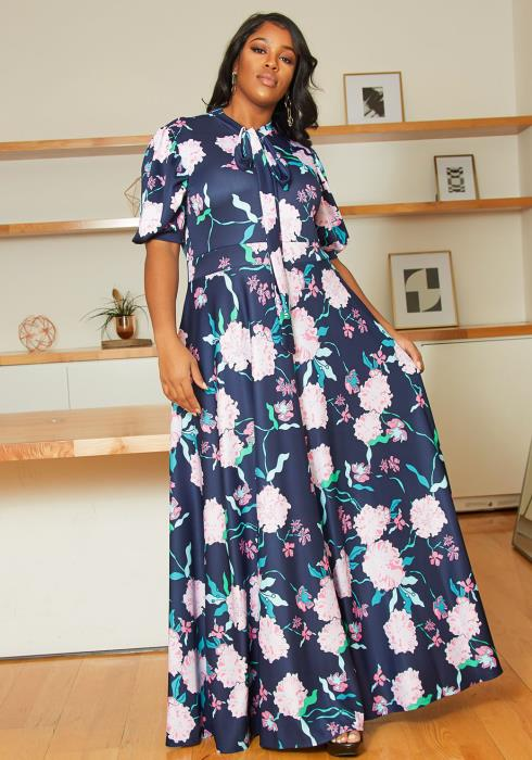 Asoph Plus Size Midnight Bloom Maxi Dress