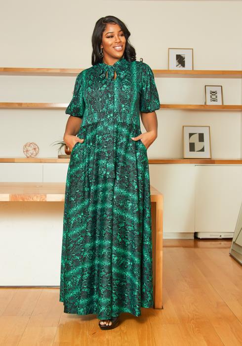 Asoph Plus Size Emerald Snakeskin Maxi Dress