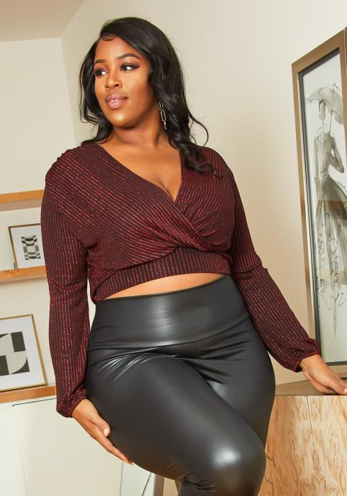 Asoph Plus Size Cropped Lurex Wrap Top