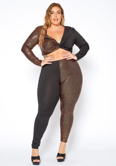 Asoph Curvy Womens Party Sequin Contrast Crop Top & Leggings Set