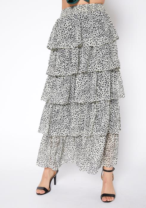 Tansy Pebbled Print Tier Ruffle Layered Maxi Skirt