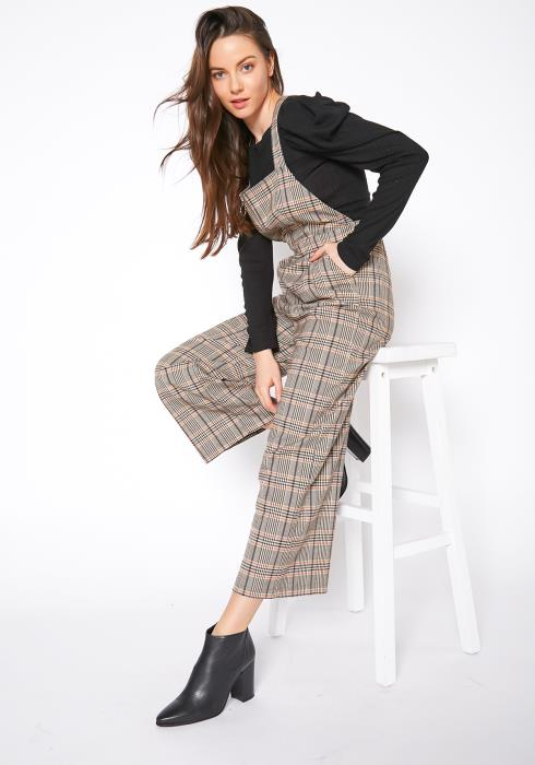 Tansy Vintage Plaid Womens Overall Jumpsuit