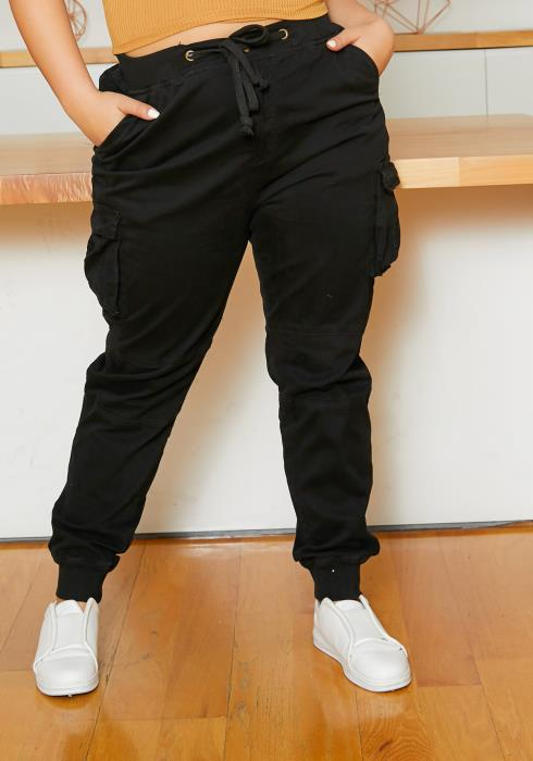 Asoph Curvy Womens Black Cargo Denim Pants