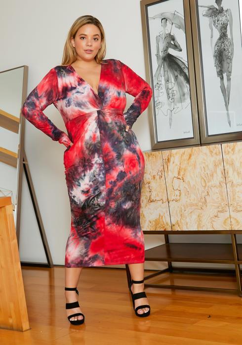 Asoph Plus Size Sweetheart Tie Dye Bodycon Women Midi Dress