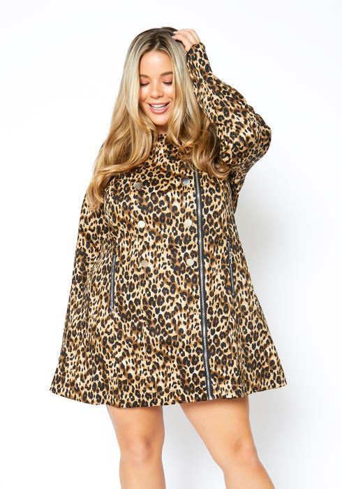 Asoph Plus Size Womens Leopard Babe Notch Collar Zip Up Dress