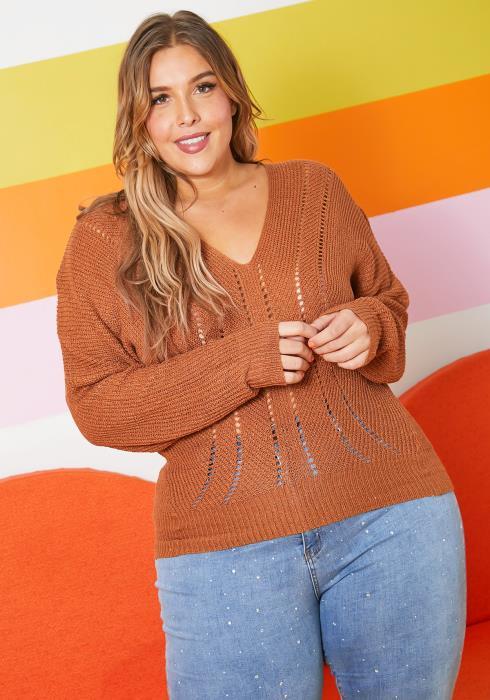 Asoph Plus Size Open Knit Patterned Women Sweater