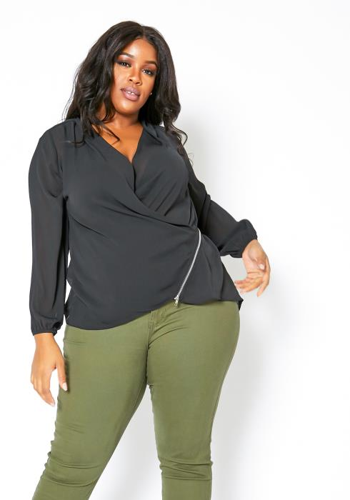 Asoph Plus Size Sheer Womens Overlay Zipper Hem Blouse