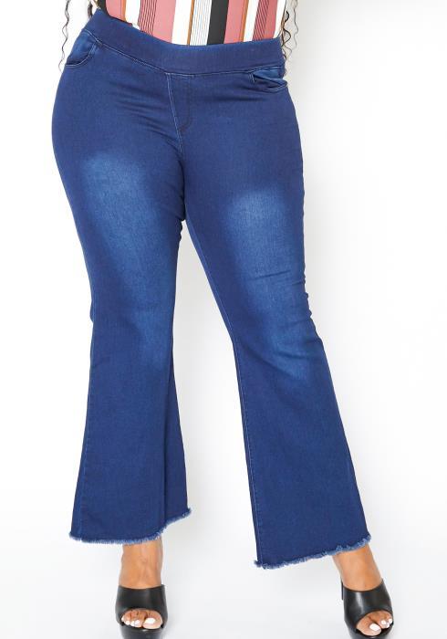 Asoph Plus Size Raw Hem Bell Flare Jean