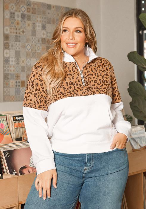 Asoph Plus Size Leopard Contrast High Neck Sweater